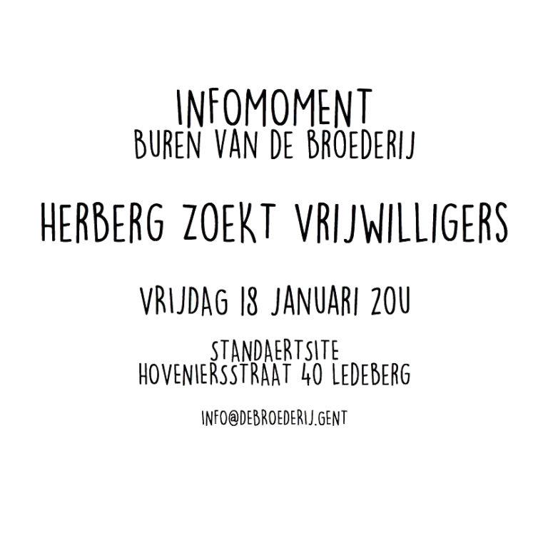 Infomoment: Herberg zoekt vrijwilligers
